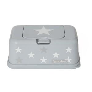 Boite à lingette Funkybox argent étoile blanc