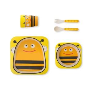 Coffret vaisselle biodégradable abeille 5 pièces