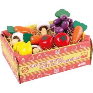 Jouet de marchande en bois légumes